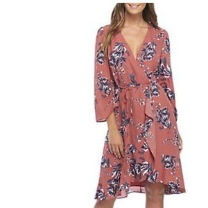 Charles Henry Ruched Sleeve Floral Wrap Dress
